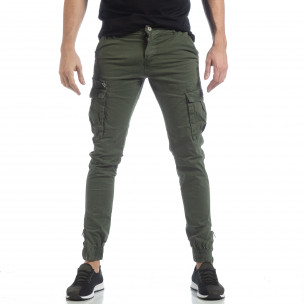 Ανδρικό πράσινο παντελόνι cargo με φερμουάρ  2