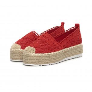 Γυναικείες κόκκινες πλεκτές εσπαντρίγιες Rustic style  2
