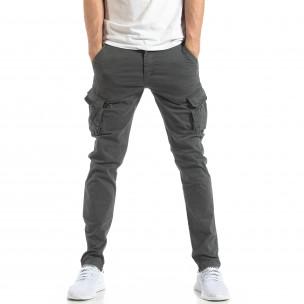 Ανδρικό σκούρο γκρι παντελόνι cargo