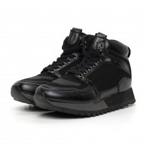 Ανδρικά ψηλά μαύρα αθλητικά παπούτσια  Montefiori 2