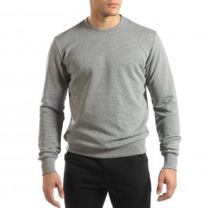 Ανδρική γκρι βαμβακερή μπλούζα Basic  2