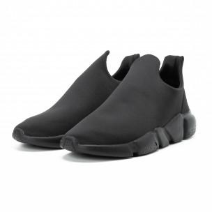 Ανδρικά μαύρα slip-on αθλητικά παπούτσια All black από νεοπρέν  2