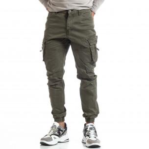 Ανδρικό πράσινο παντελόνι με φερμουάρ στις τσέπες 2