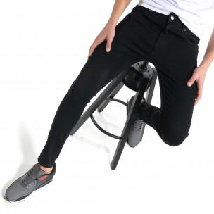 Basic ανδρικό μαύρο τζιν Skinny fit  2