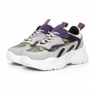 Γυναικεία Chunky αθλητικά παπούτσια με μωβ λεπτομέρειες  2