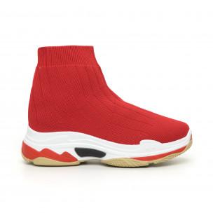 Γυναικεία κόκκινα πλεκτά αθλητικά παπούτσια Slip-on