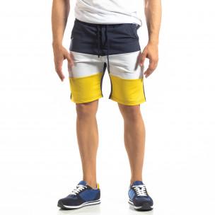 Ανδρικό μπλε σορτς με λευκό και κίτρινο