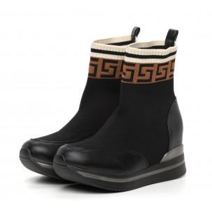 Γυναικεία μαύρα μποτάκια κάλτσα  2