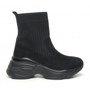 Γυναικεία μαύρα αθλητικά παπούτσια τύπου κάλτσα με χοντρή σόλα
