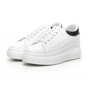 Γυναικεία λευκά sneakers με κρυφή πλατφόρμα 2