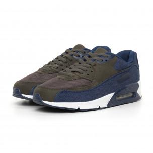 Ανδρικά αθλητικά παπούτσια Air πράσινο χρώμα και ντένιμ  2