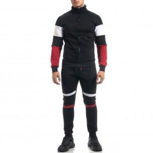 Ανδρικό μαύρο αθλητικό σετ Biker style   2