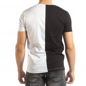 Ανδρικό ασπρόμαυρο κοντομάνικο μπλουζάκι με πριντ 2