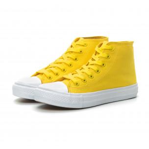 Γυναικεία Basic  κίτρινα ψηλά sneakers 2