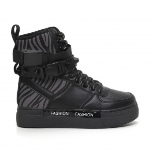 Γυναικεία μαύρα αθλητικά μποτάκια τύπου sneakers Fashion&Bella