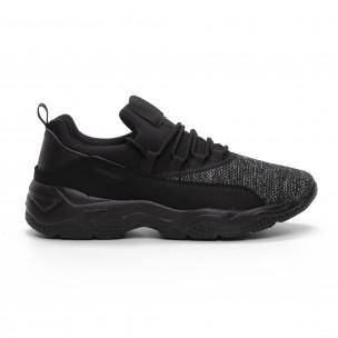 Ανδρικά μαύρα μελάνζ αθλητικά παπούτσια ελαφρύ μοντέλο