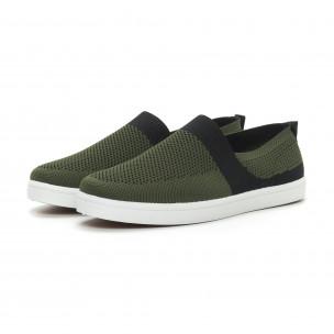 Ανδρικά πράσινα πλεκτά sneakers με μαύρες λεπτομέρειες  2