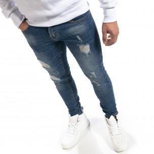 Ανδρικό μπλε τζιν Slim fit με σκισίματα Yes!Boy