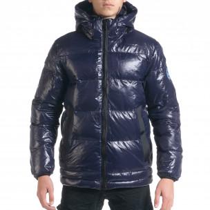 Ανδρικό χειμωνιάτικο μπουφάν από γυαλιστερό ύφασμα Royal blue