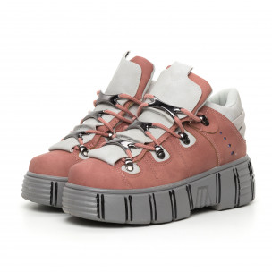 Γυναικεία ροζ μποτάκια με πλατφορμα Trekking design 2
