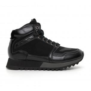 Ανδρικά ψηλά μαύρα αθλητικά παπούτσια  Montefiori