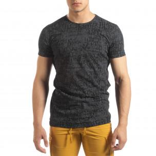 Ανδρική σκούρα γκρι κοντομάνικη μπλούζα Vintage