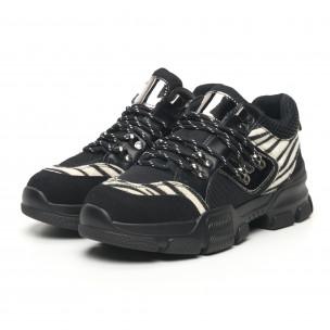 Γυναικεία αθλητικά παπουτσια τύπου Hiker σε μαύρο και ζέβρα Moom 2