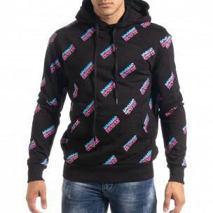 Ανδρικό μαύρο βαμβακερό φούτερ με μοτίβο