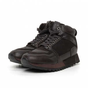 Ανδρικά ψηλά καφέ αθλητικά παπούτσια  Montefiori 2