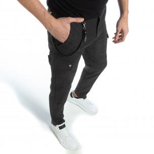 Ανδρικό γκρι μελάνζ παντελόνι  Bread & Buttons
