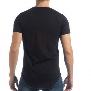 Ανδρική μαύρη κοντομάνικη μπλούζα με απλικέ  2