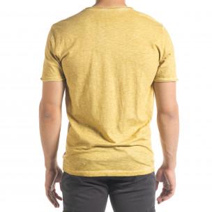 Ανδρική κίτρινη κοντομάνικη μπλούζα Ficko 2