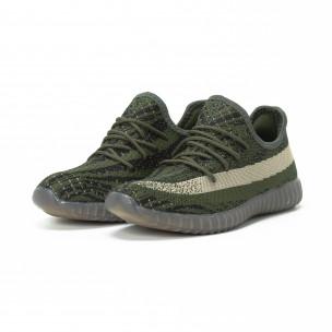 Ανδρικά πράσινα αθλητικά παπούτσια από πλεκτό ύφασμα 2