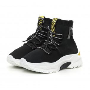 Γυναικεία μαύρα αθλητικά παπούτσια με κίτρινη λεπτομέρεια 2