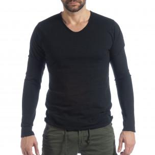 Ανδρική μαύρη μπλούζα V-neck