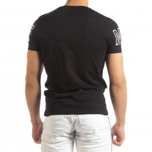 Ανδρική μαύρη κοντομάνικη μπλούζα με πριντ Watch  2