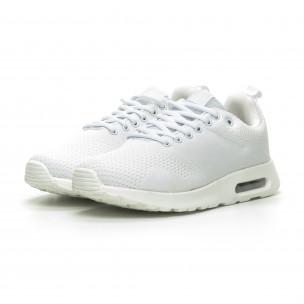 Ανδρικά λευκά πλεκτά αθλητικά παπούτσια με αερόσολα  2