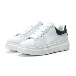Ανδρικά λευκά sneakers με μαύρη λεπτομέρεια FM 2