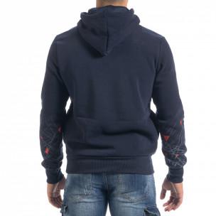 Ανδρικό μπλε φούτερ hoodie με πριντ 2