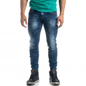 Washed ανδρικό μπλε τζιν τσαλακωμένο μοντέλο Slim fit  2