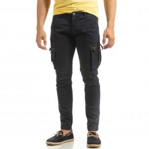 Ανδρικό σκούρο μπλε παντελόνι cargo σε ίσια γραμμή  2