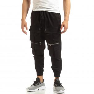 Cropped ανδρικό μαύρο παντελόνι με τσέπες