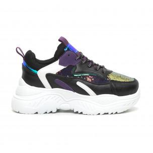 Γυναικεία μαύρα αθλητικά παπούτσια με μωβ λεπτομέρειες