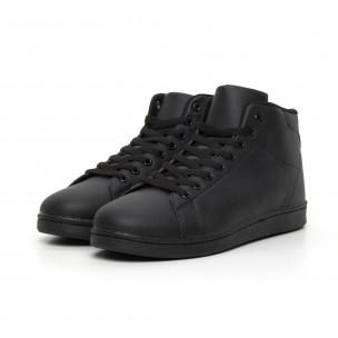 Ανδρικά μαύρα ματ ψηλά sneakers Basic  2