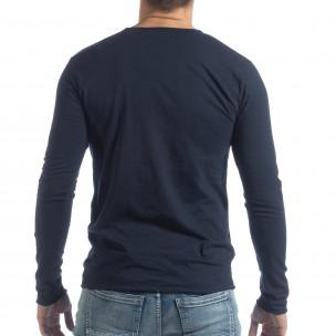 Ανδρική σκούρα μπλε μπλούζα V-neck 2