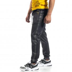 Ανδρική γκρι Jogger με πριντ ρίγα Black Sport