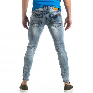 Ανδρικό γαλάζιο τζιν Washed Slim Jeans με τσαλακωμένο εφέ  2