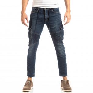 Ανδρικό μπλε τζιν Cargo Jeans σε ροκ στυλ  2