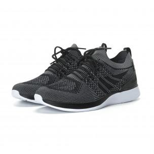 Ανδρικά μαύρα πλεκτά αθλητικά παπούτσια με γκρι λεπτομέρειες 2