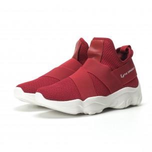Slip- on ανδρικά κόκκινα αθλητικά παπούτσια με λάστιχα  2